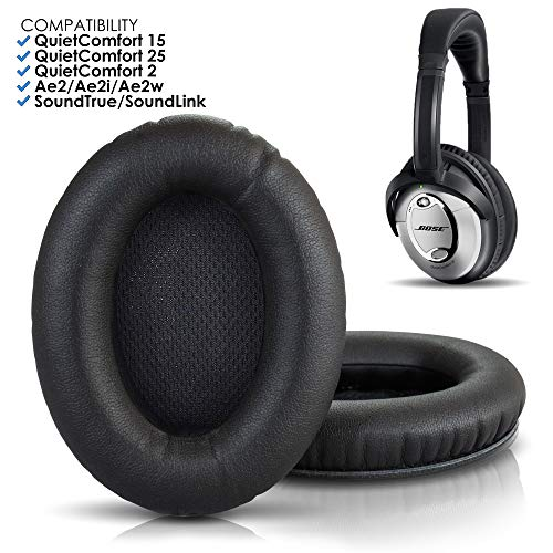 Wicked Cushions Premium Bose Headphones Replacement Ear Pads - Compatible with QuietComfort 15 / QC15 / QC2 / Ae2 / Ae2i / Ae2w / SoundTrue & SoundLink (Over-Ear ONLY) | Black (Soundlink Around Ear Bluetooth Headphones Ear Cushion Kit)