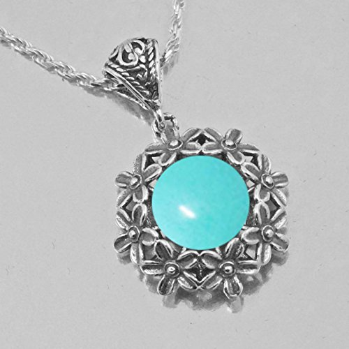 Genuine Vintage Stone (Necklace Turquoise Gemstone Sterling Silver 925 Genuine Handmade Gift Vintage Style)