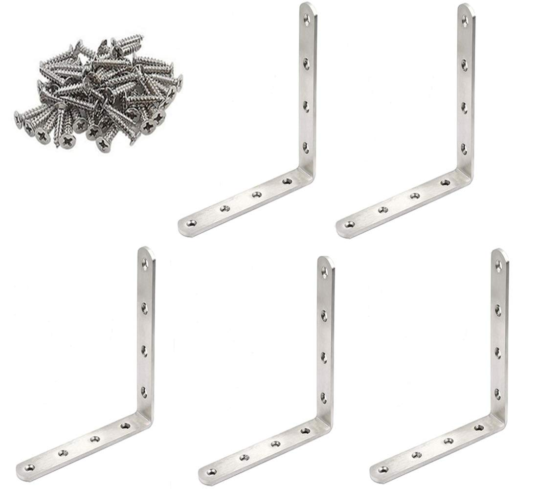 GFORTUN Stainless Steel Heavy Duty Corner Brace Right Angle Bracket L Shaped Brackets Furniture 90 Degree Joint Corner Support Fastener with Screws 5PCS 125mmX20mmX125mm