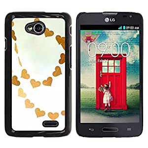 Be Good Phone Accessory // Dura Cáscara cubierta Protectora Caso Carcasa Funda de Protección para LG Optimus L70 / LS620 / D325 / MS323 // Brown Sky Love White Art
