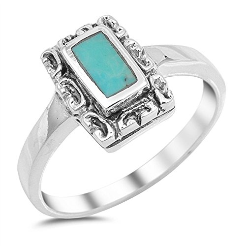 Rectangular Simulated Turquoise Fashion Ring 925 Sterling Silver Size 8
