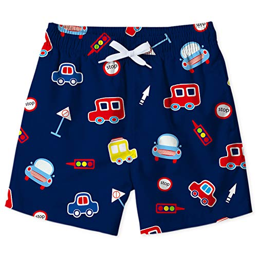 ALOOCA Little Boys Swim Trunks Funny Cartoon Cars Pattern Sports Running Board Shorts Swimwear Drawstring 4-5T