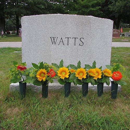 Black-Duck-Brand-Green-975-Plastic-Cemetery-Memorial-Grave-Flute-Flower-Vases-2-Pack