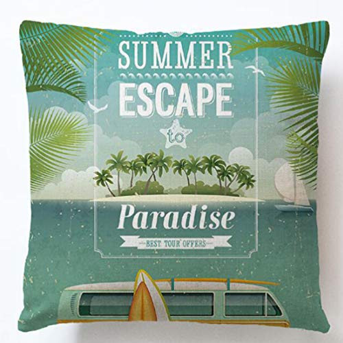 (7COLORROOM Tropical Leaves Throw Pillow Cover, Coconut Palm Tree with Sailboat Cushion Cover Nature Paradise Plants Foliage Leaves Home Decorative Square Accent Pillow Case18×18