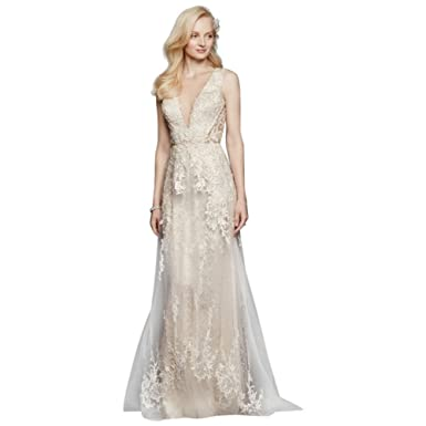088afd9602 Tulle A-Line Wedding Dress with Plunging V-Neck Style SWG722 at Amazon  Women s Clothing store