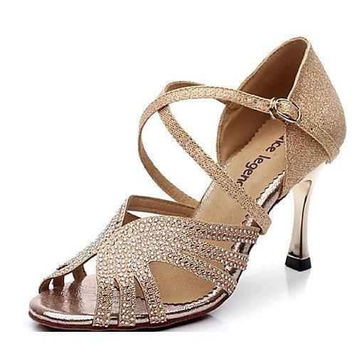 Heel Women's Heels Shoes Professional T Dance T Gold Satin Q Beginner Stiletto Leather Gold UTTq4z