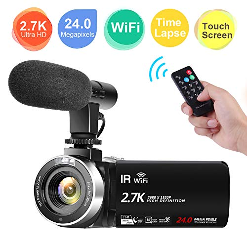 Video Camera Camcorder,Full HD 2.7K Vlogging Camera 30 FPS 24MP Wi-fi Camcorders with Microphone IR Night Vision YouTube Digital Camera with Time Lapse & Motion Detection