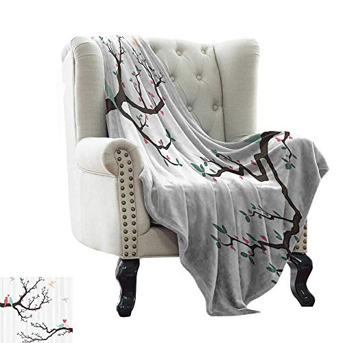 (RenteriaDecor Love Decor,Digital Printing Blanket Birds on The Tree Serenade Nostalgic Partners Ceremony Valentines Romance Theme 60