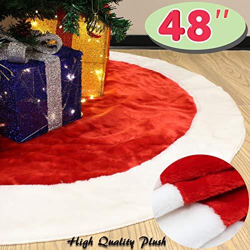 """JOYIN 48"""" Velvet Plush Large Round Christmas Tree Skirt for Christmas Holiday Party Decoration"""