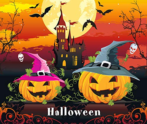 TINMI ARTS-Diamond Painting Halloween Full Square for Kids-Paint by Numbers Art Crafts Handmade Canvas Picture(Pumpkin and Castle, 20