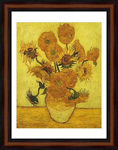 (Sunflowers, 1889 by Vincent Van Gogh Framed Art Print Wall Picture, Traditional Brown Frame, 18 x 23 inches)