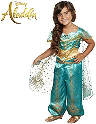 Disney Aladdin Jasmine Costume Teal Gold Peacock Outfit 2piece Pants Costume