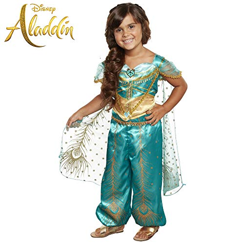 Disney Aladdin Jasmine Costume Teal & Gold Peacock Outfit, 2Piece Pants Costume -
