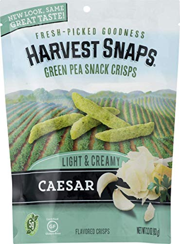 - Harvest Snaps Green Pea Snack Crisps, Caesar, deliciously baked and crunchy veggie snacks with plant protein and fiber,  3.3-Ounce Bag (Pack of 12)
