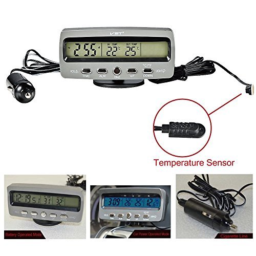 4 in 1 Car Indoor Outdoor Temperature Hour LCD Display Freeze Alert Blue and Orange Backlight Dc 12v Auto Gauges by Shopready (Image #2)