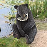 "2½""H Tall Wide Brown Eyes Black Bear Statue"