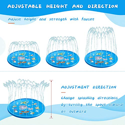 VOLADOR Splash Pad for Kids, 68 inches Water Play Mat, Children Sprinkler Pad, Outdoor Inflatable Water Spray Pad for Toddlers