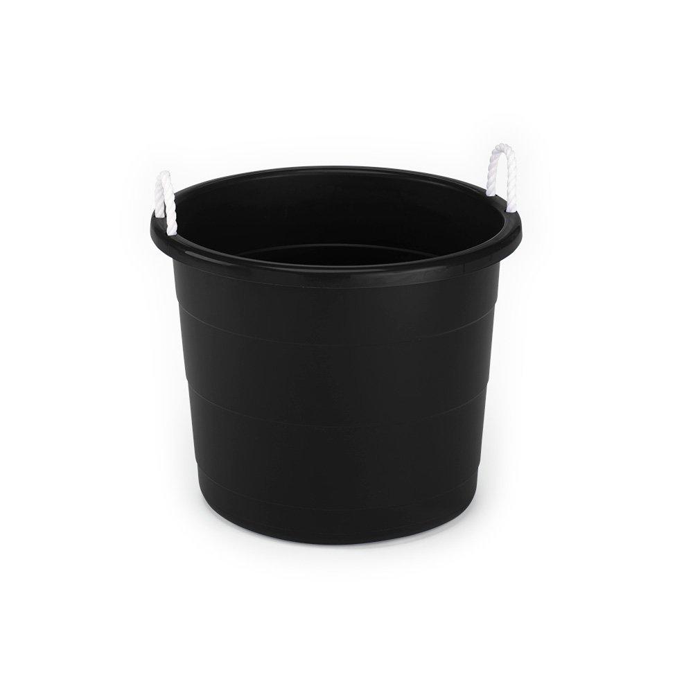 Homz Plastic Utlity Tub with Rope Handles, 17 Gallon, Black, Set of 2 by Homz