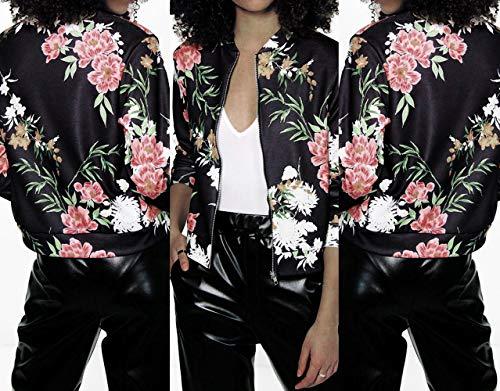 Autunno Cappotti Coat Simple Moda E Giacche Cime Manica Lunga Casual fashion Giacca Donna Nero Giovane Stampa Con Outerwear Bomber Zip Primavera Jacket Tops rH4wqatxH