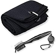 Golf Towel Golf Club Brush Set, Microfiber Waffle Towels for Golf Bags with Clip, Golf Club Groove Cleaner Too