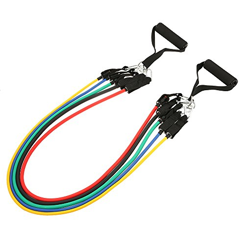 iSoxid(TM) 10PCS Resistance Bands Set Heavy Duty Rubber Latex Resistance Band Door Anchors Ankle Straps Yoga Fitness Pull Rope + Bag by