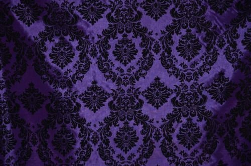 (DAMASK TAFFETA VELVET FLOCKED PURPLE DRESS HOME DECOR APPAREL CURTAINS BY THE YARD)