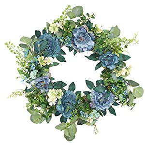 Delicaft Peony Flowers Silk Front Door Artificial Wreath 16 Inch -Handcrafted on a Grapevine Wreath Base- Display in Spring,Summer. (Blue Peony Wreath)