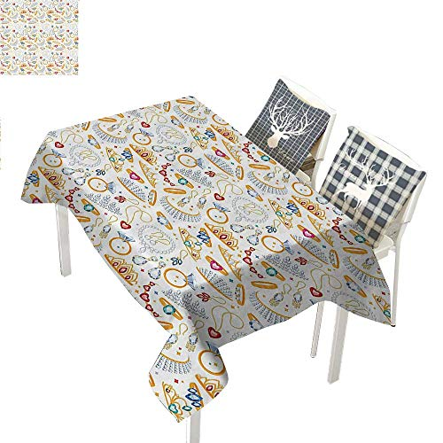 WilliamsDecor Pearls Decor Collection Checkered Tablecloth Pattern with Jewelry Accessories Diamond Rings Tiara Earring Necklace Stones ImageWhite Yellow Rectangle Tablecloth W60 xL84 ()