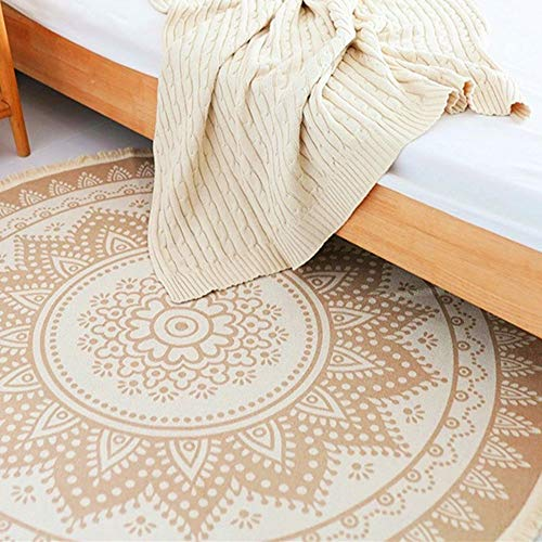 (Woven Cotton Printed Round Area Rug with Tassels, HiiARug Modern Floor Carpet Front Indoor Mat for Home Decor, Living Room, Bedroom, Coffee Table Rug, Children Playroom, Round 4 Ft)