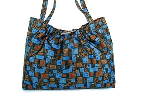 Shoulder Knitting Tote Bag in Blue and Brown Graphic Print Upholstery Fully Lined 15 x 12 x 6-Inches