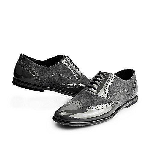 0d25ea5931d7 ... Fulinken Silver Leather Men Lace Up Classic Oxford Dress Boot Business  Shoes Grey Silver kJcSsHk12 ...