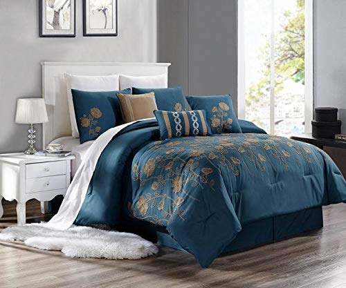 New Bed Collection 3PC Embroidery Duvet Comforter Bed Cover Set W/Pillow Shams Color Brenda #8 Size Cal- King from Unknown
