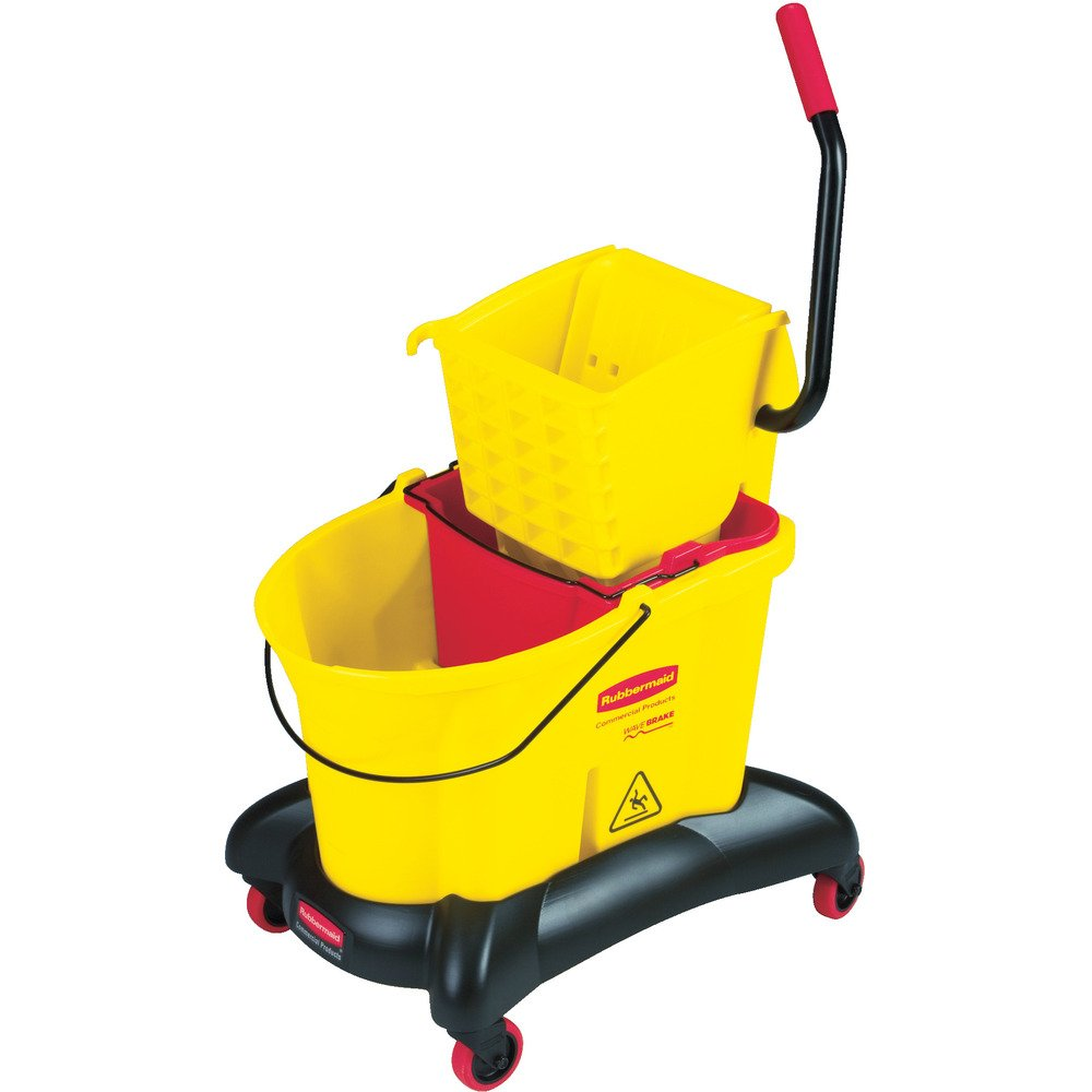 Rubbermaid Commercial WaveBrake Dual Water Mop Bucket and Side Press Wringer Combo, 35-Quart, Yellow, FG768000YEL