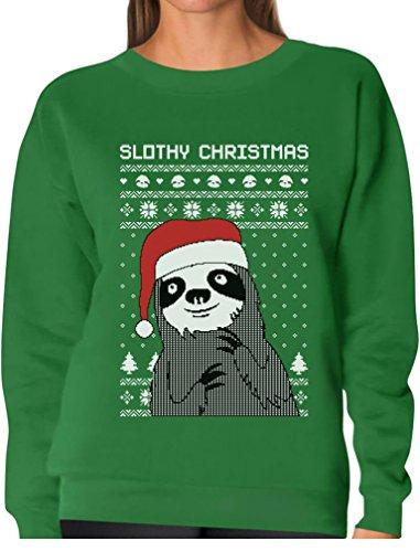 Tstars TeeStars - Slothy Christmas Ugly Christmas Sweater Sloth Women Sweatshirt Large Green (Sloth Christmas)