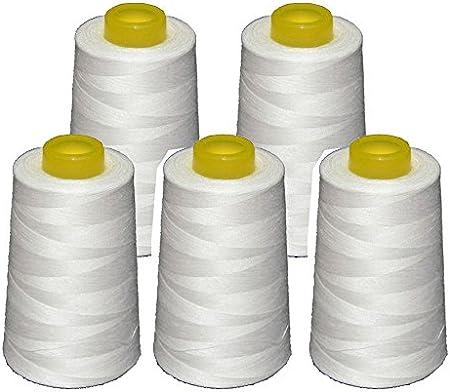 5 conos blancos de hilo de poliester, especiales para máquinas de ...