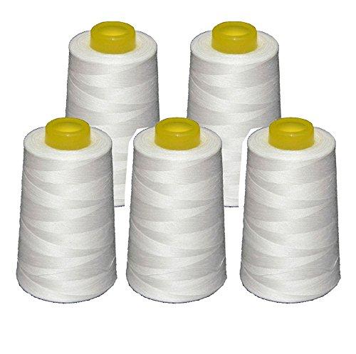 5 conos blancos de hilo de poliester, especiales para máquinas de coser y remalladoras.: Amazon.es: Hogar