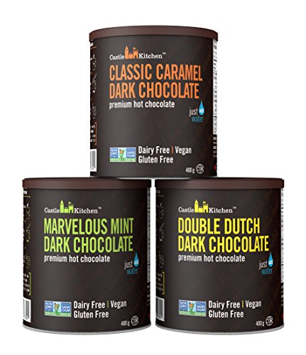 - Natural Hot Chocolate Mix Variety Pack - Dairy-Free, Vegan Complete Mixes - Just Add Water - Pack of 3 (Classic Caramel, Double Dutch, Marvelous Mint Dark Chocolate) 14 oz Each