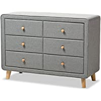 Baxton Studio IsabelleMid-Century Grey Fabric Upholstered 6-Drawer Dresser, Dresser, Grey