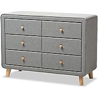 Baxton Studio IsabelleMid-Century Grey Fabric Upholstered 6-Drawer Dresser, Dresser, Grey