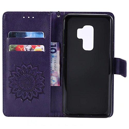 Galaxy S9Plus móvil, cowx Teléfono Móvil para Samsung Galaxy S9Plus Carcasa Piel Flip Case Cartera Funda Carcasa para Samsung S9Plus Funda Cover Girasol–Lila