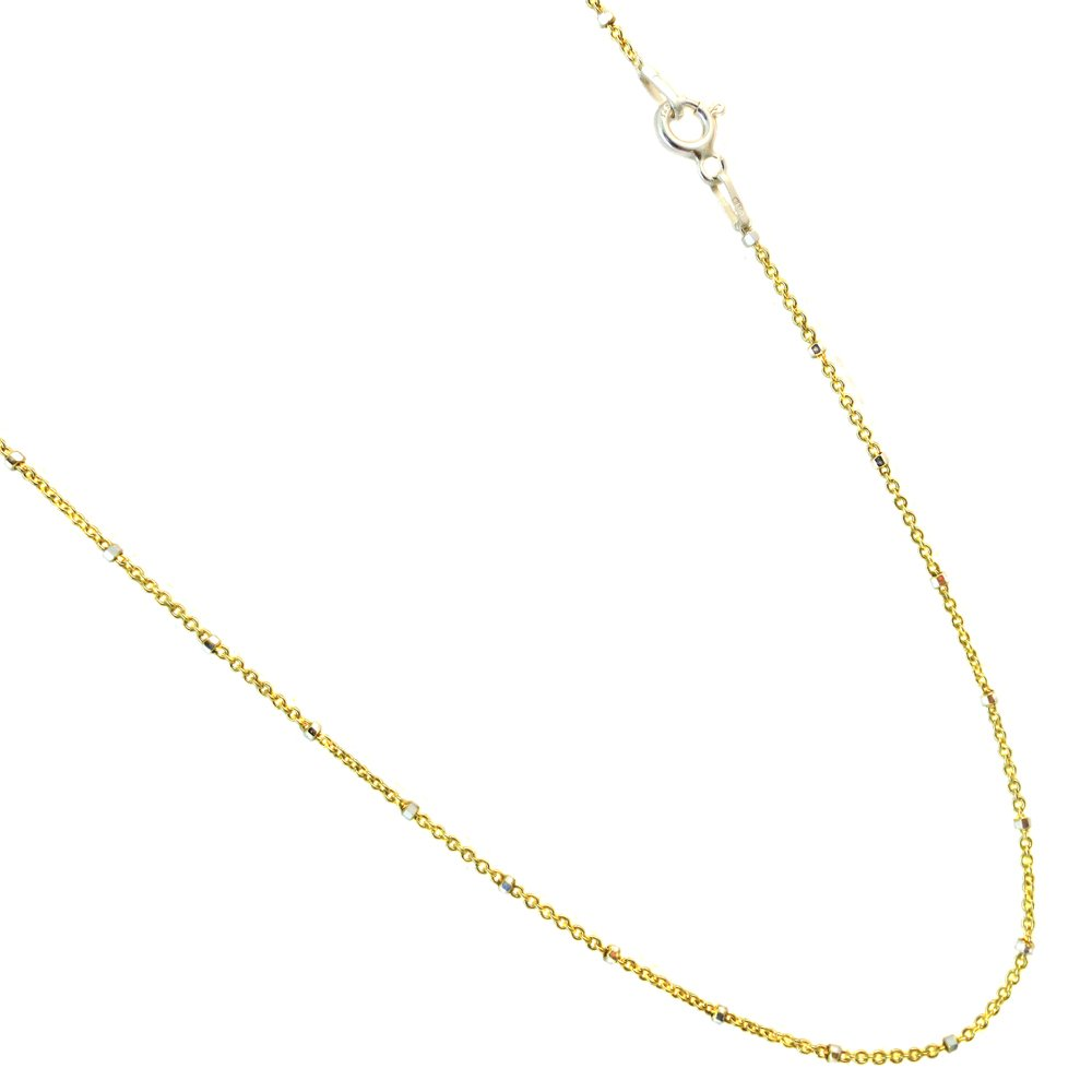 16 to 36 JOSCO Vermeil,14k Gold Plated Over Sterling Silver Rolo Styled Chain with Silver Beads Necklace