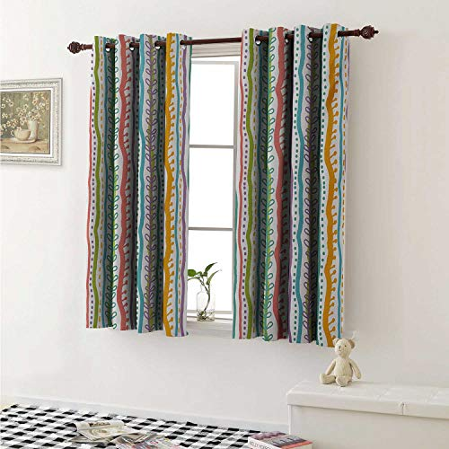 shenglv Striped Window Curtain Fabric Vertical Abstract Featured Swirl Lines Curved Stylish Sketchy Bands and Dots Display Curtains and Drapes for Living Room W55 x L63 Inch Multi