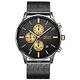 JEDIR Men's Chronograph Watch Analog Quartz Watch Classic Simple Design Date Calendar and Milanese Mesh Band (Black Gold)