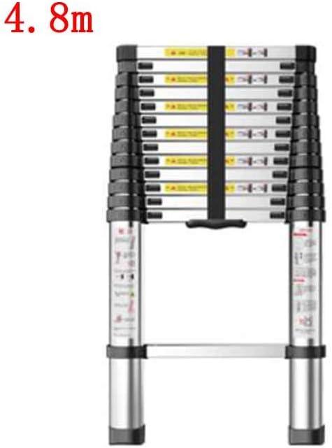 ZPWSNH Escalera telescópica hogar bambú Interior ingeniería Plegable de una Cara Escalera Recta Engrosamiento aleación de Aluminio Taburete (Size : 4.8m): Amazon.es: Hogar