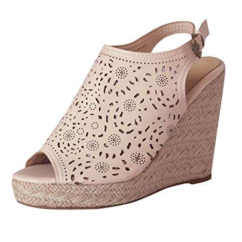BOLUBILUY 2019 New Women Comfy Platform Sandal Shoes,Wedges Flat Fish Mouth Open Toe Slingback Summer Cork Hollowed Out Beige