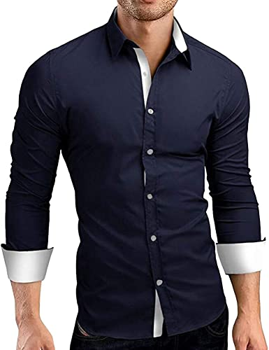 d.Stil Camisa de manga larga para hombre con cuello de Kent para negocios y bodas