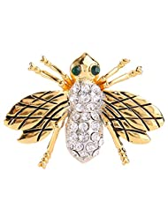 Ever Faith Women's Austrian Crystal Lovely Baby Honey Bee Insect Brooch Pin Clear Gold-Tone
