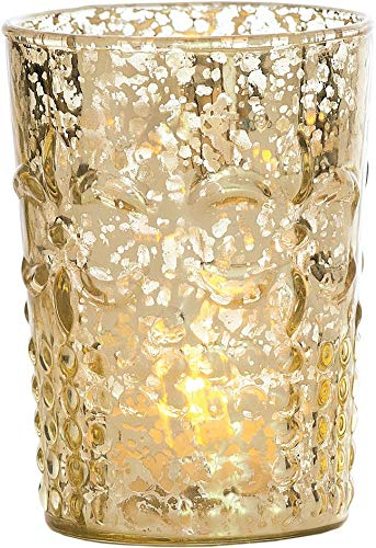 Luna Bazaar Vintage Mercury Glass Vase or Candle Holder (4-Inch, Fleur Design, Flower Motif, Gold, Set of 2) - for Home Decor, Party Decorations, and Wedding Centerpieces