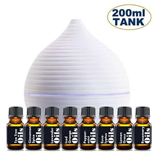 Essential Oil Diffuser Gift Set – Includes Top 8 Essential Oils (Tea Tree, Lavender, Peppermint & more) - Large 200ml Tank Quietly Mists up to 4 Hours – Auto Shut Off - Multi Colored LED
