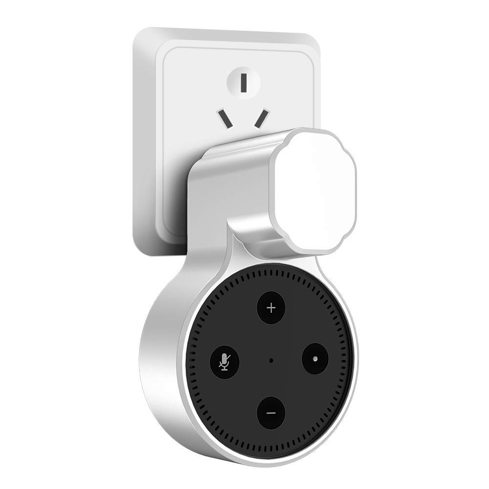 Miracase Outlet Wall Mount Hanger Stand for Alexa Dot 2nd Generation,Space-Saving Solution for Your Smart Home Speakers Without Messy Wires or Screws, Charging Cable Included (White)